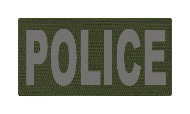 POLICE ID Patch - 4x2 - Gray Lettering - OD Green Backing - Hook Fabric