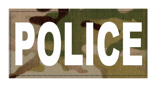 POLICE ID Patch - 4x2 - White Lettering - Multicam Backing - Hook Fabric