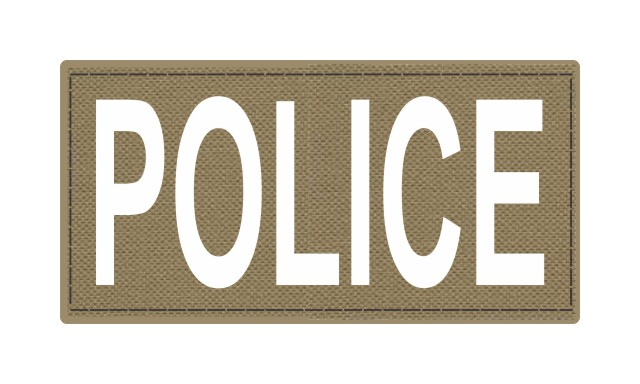 POLICE ID Patch - 4x2 - White Lettering - Tan Backing - Hook Fabric