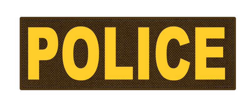 POLICE ID Patch - 6x2 - Gold Lettering - Coyote Backing - Hook Fabric