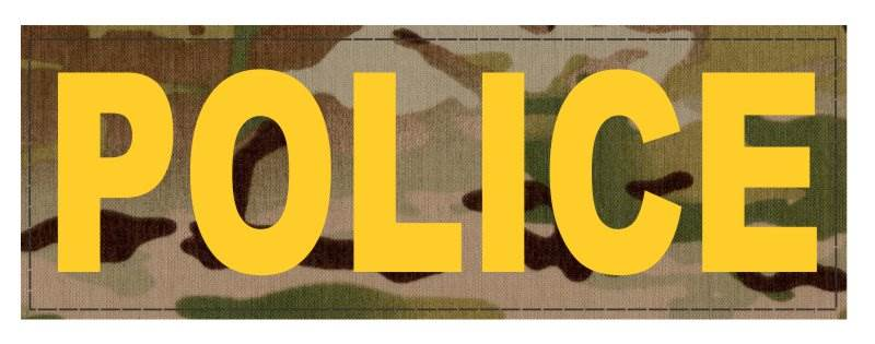POLICE ID Patch - 6x2 - Gold Lettering - Multicam Backing - Hook Fabric
