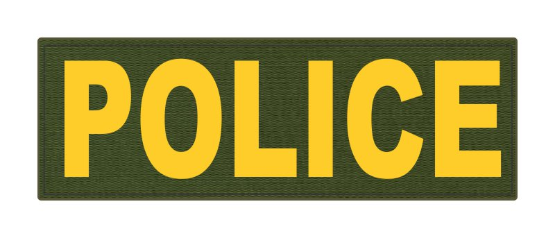 POLICE ID Patch - 6x2 - Gold Lettering - OD Green Backing - Hook Fabric