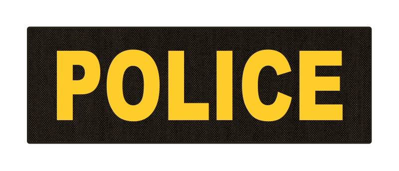 POLICE ID Patch - 6x2 - Gold Lettering - Ranger Green Backing - Hook Fabric