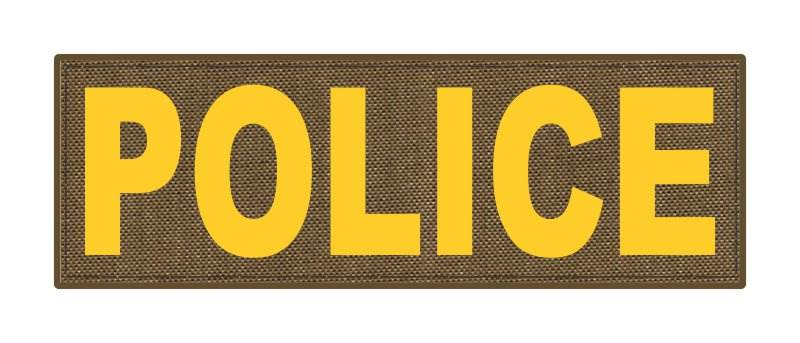 POLICE ID Patch - 6x2 - Gold Lettering - Tan Backing - Hook Fabric