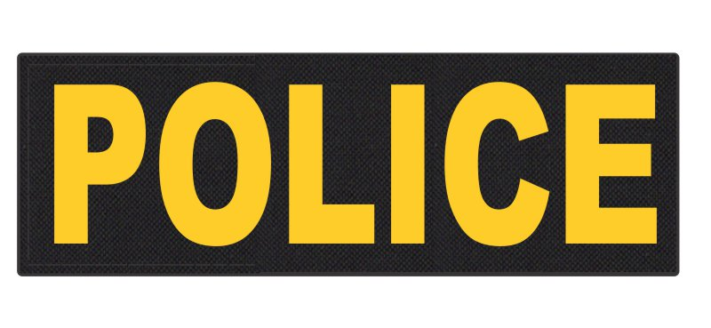 POLICE ID Patch - 6x2 - Gold Lettering - Black Backing - Hook Fabric