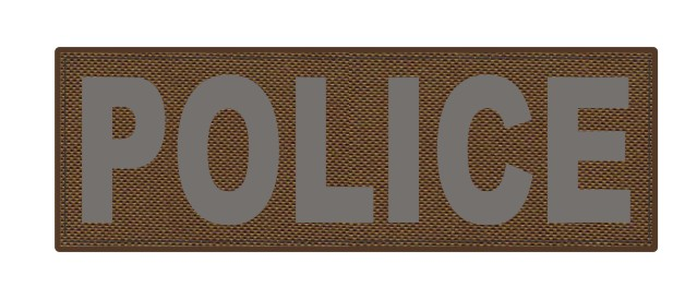 POLICE ID Patch - 6x2 - Gray Lettering - Coyote Backing - Hook Fabric