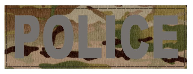 POLICE ID Patch - 6x2 - Gray Lettering - Multicam Backing - Hook Fabric