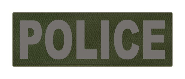 POLICE ID Patch - 6x2 - Gray Lettering - OD Green Backing - Hook Fabric