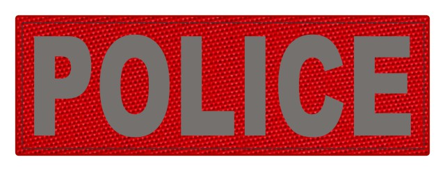POLICE ID Patch - 6x2 - Gray Lettering - Red Backing - Hook Fabric