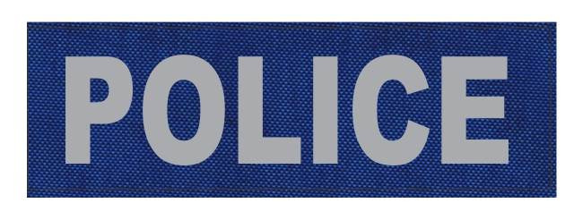 POLICE ID Patch - 6x2 - Gray Lettering - Royal Blue Backing - Hook Fabric