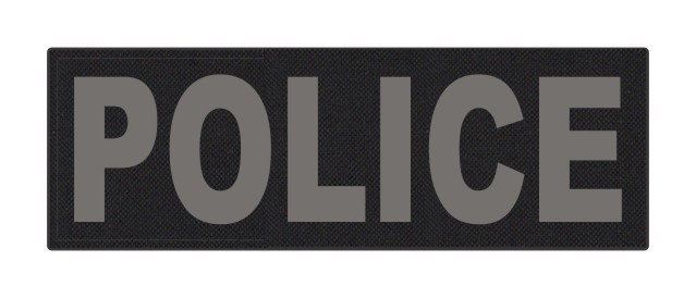 POLICE ID Patch - 6x2 - Gray Lettering - Black Backing - Hook Fabric