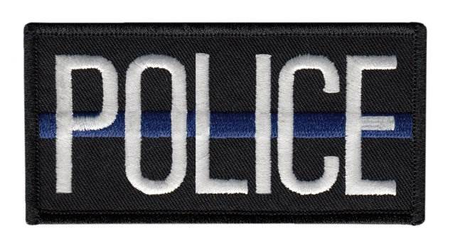 POLICE Thin Blue Line Chest Patch, 4 x 2 - White Lettering - Black Backing