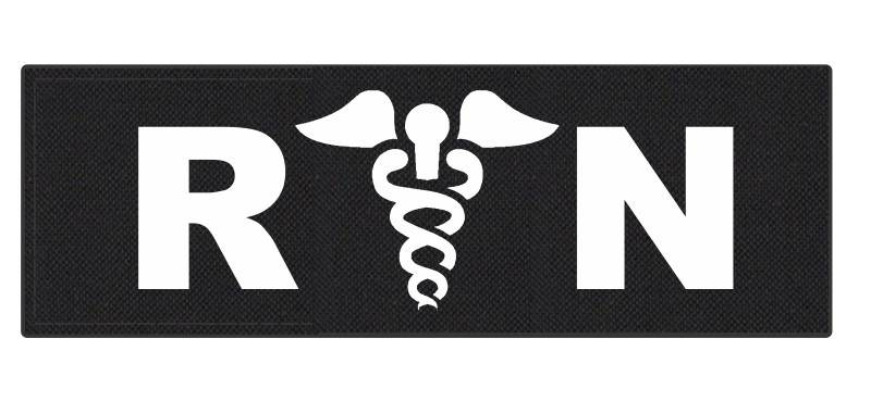 R/N Caduces ID Patch - 6x2 - White Lettering - Black Backing - Hook Fabric