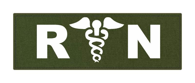 R/N Caduces ID Patch - 6x2 - White Lettering - OD Green Backing - Hook Fabric