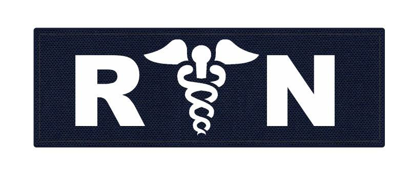 R/N Caduces ID Patch - 8.5x3 - White Lettering - Navy Backing - Hook Fabric