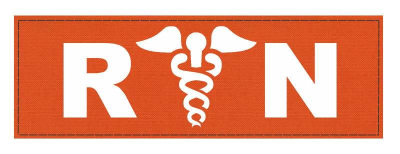 R/N Caduces ID Patch - 8.5x3 - White Lettering - Orange Backing - Hook Fabric