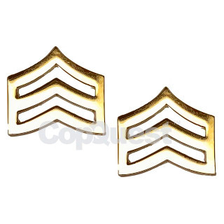 Rank Insignia - Chevrons - 3/4-inch - Mini - Sergeant - 3 Stripes - Pair - Gold Finish