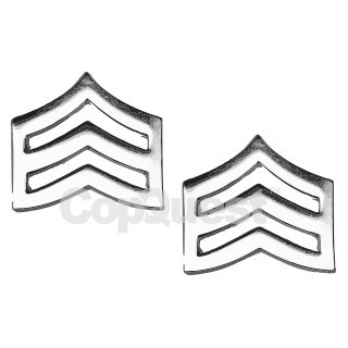 Rank Insignia - Chevrons - 3/4-inch - Mini - Sergeant - 3 Stripes - Pair - Nickel Finish