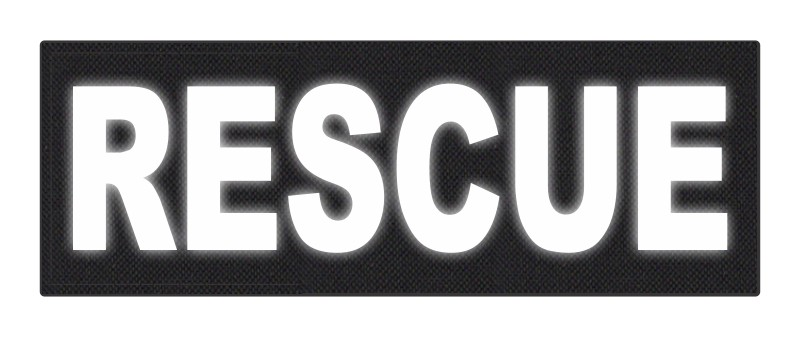RESCUE Patch - 8.5x3.0 - Reflective Lettering - Black Backing - Hook Fabric