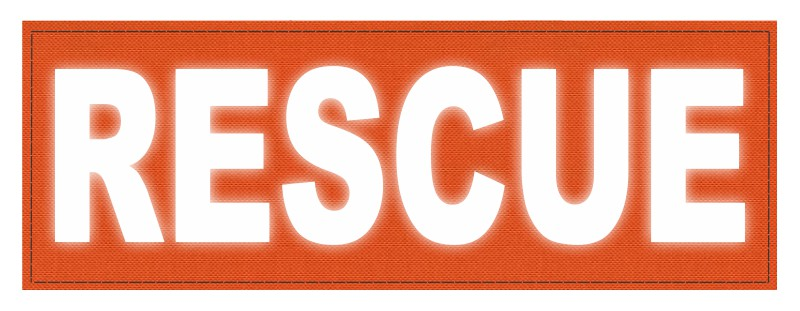 RESCUE Patch - 8.5x3.0 - Reflective Lettering - Orange Backing - Hook Fabric
