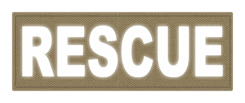 RESCUE Patch - 8.5x3.0 - Reflective Lettering - Tan Backing - Hook Fabric