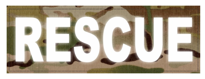 RESCUE Patch - 8.5x3.0 - Reflective Lettering - Multicam Backing - Hook Fabric