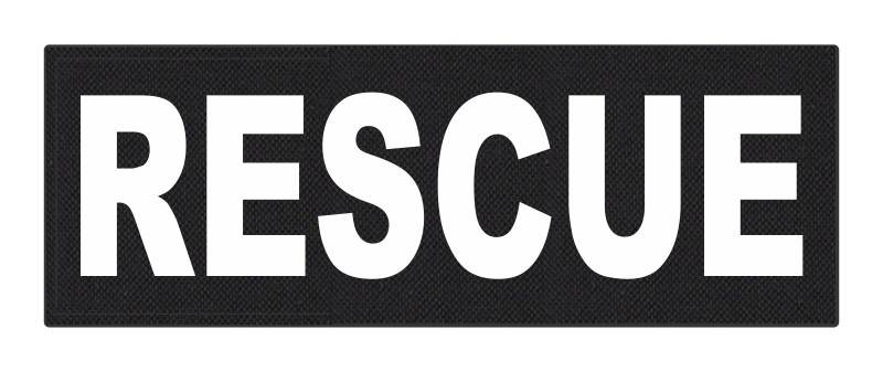 RESCUE Patch - 8.5x3.0 - White Lettering - Black Backing - Hook Fabric