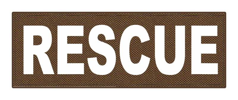 RESCUE Patch - 8.5x3.0 - White Lettering - Coyote Backing - Hook Fabric