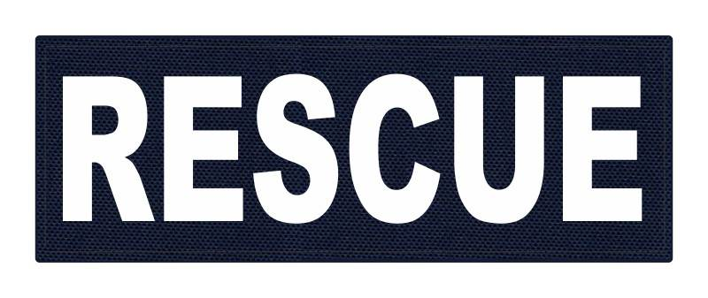 RESCUE Patch - 8.5x3.0 - White Lettering - Navy Backing - Hook Fabric