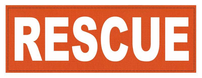 RESCUE Patch - 8.5x3.0 - White Lettering - Orange Backing - Hook Fabric