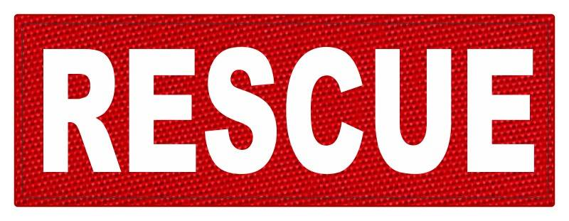 RESCUE Patch - 8.5x3.0 - White Lettering - Red Backing - Hook Fabric