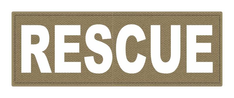 RESCUE Patch - 8.5x3.0 - White Lettering - Tan Backing - Hook Fabric