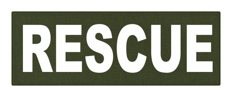 RESCUE Patch - 8.5x3.0 - White Lettering - OD Green Backing - Hook Fabric