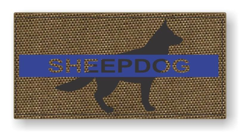 Sheepdog Thin Blue Line Morale Patch - Tan Backing
