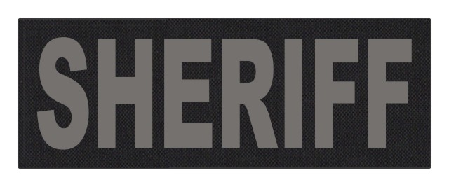 SHERIFF ID Patch - 11x4 - Gray Lettering - Black Backing - Hook Fabric