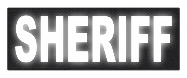 SHERIFF ID Patch - 11x4 - Reflective White Lettering - Black Backing - Hook Fabric