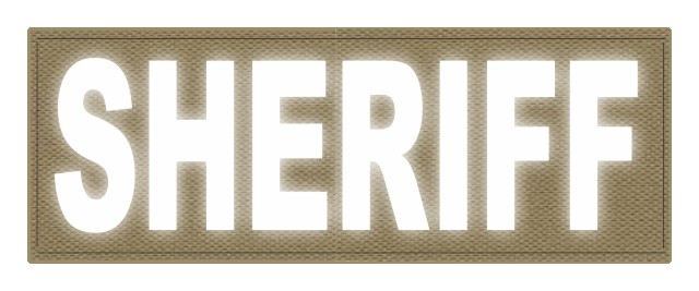 SHERIFF ID Patch - 11x4 - Reflective White Lettering - Tan Backing - Hook Fabric