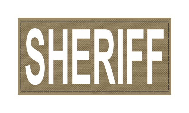 SHERIFF ID Patch - 4x2 - White Lettering - Tan Backing - Hook Fabric