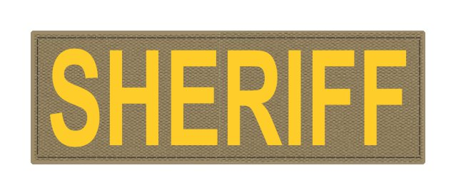 SHERIFF ID Patch - 6x2 - Gold Lettering - Tan Backing - Hook Fabric