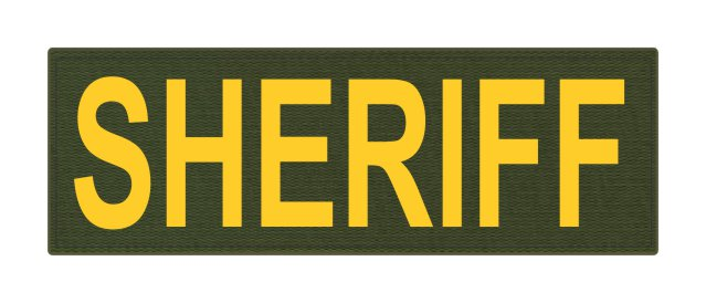SHERIFF ID Patch - 6x2 - Gold Lettering - OD Green Backing - Hook Fabric