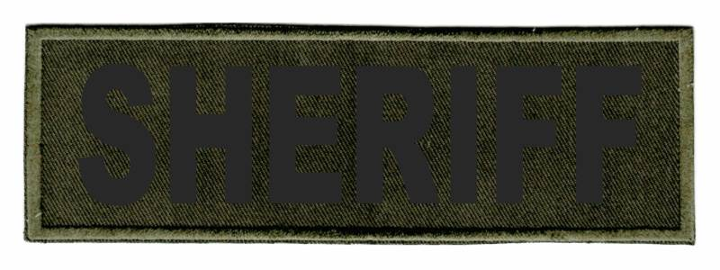 SHERIFF Identification Patch - 6x2 - Black Lettering - OD Green Twill Backing