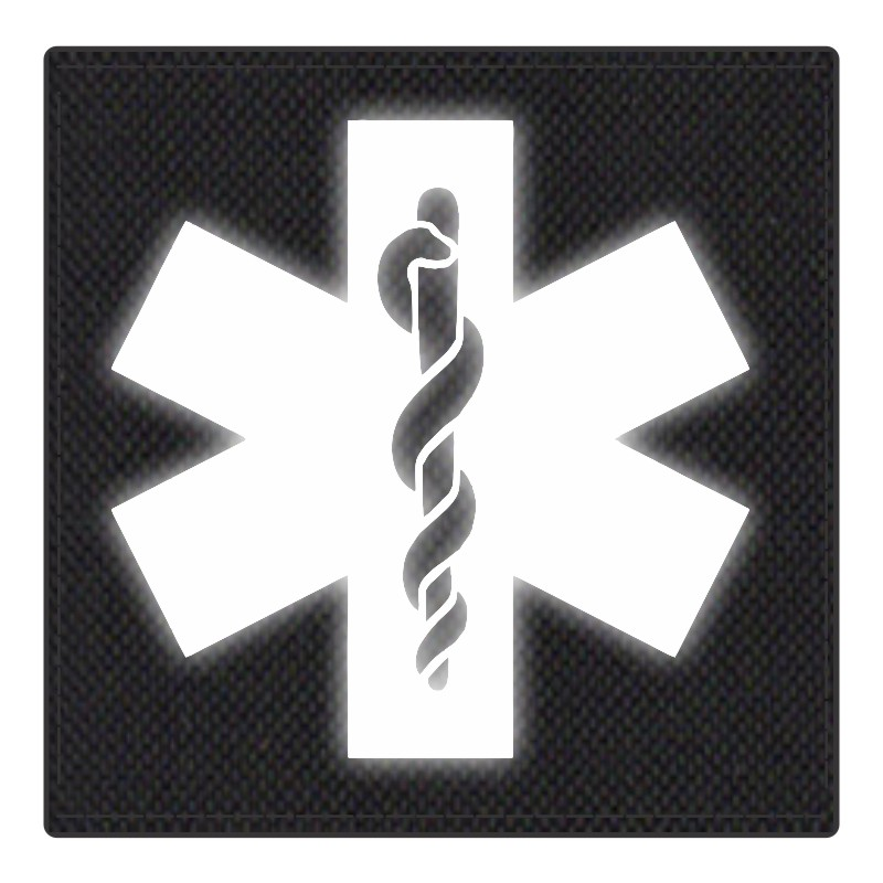 Star of Life Medical Patch 4x4 - Reflective Image - Black Backing - Hook Fabric