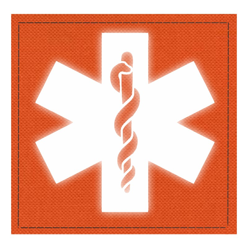 Star of Life Medical Patch 4x4 - Reflective Image - Orange Backing - Hook Fabric
