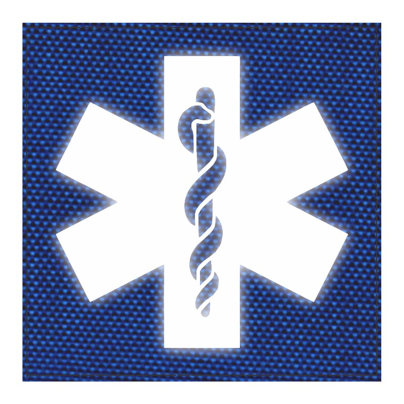Star of Life Medical Patch 4x4 - Reflective Image - Royal Blue Backing - Hook Fabric