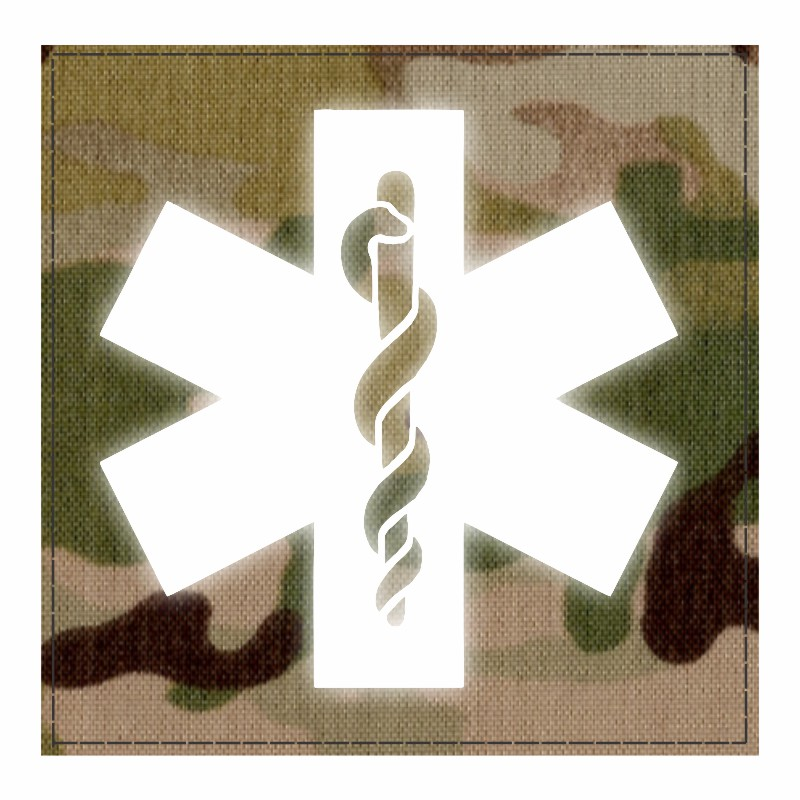 Star of Life Medical Patch 4x4 - Reflective Image - Multicam Backing - Hook Fabric