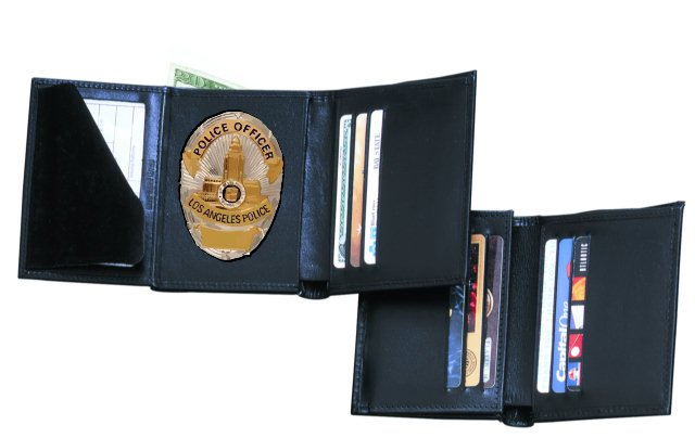 Strong Leather Dress Hidden Badge Wallet