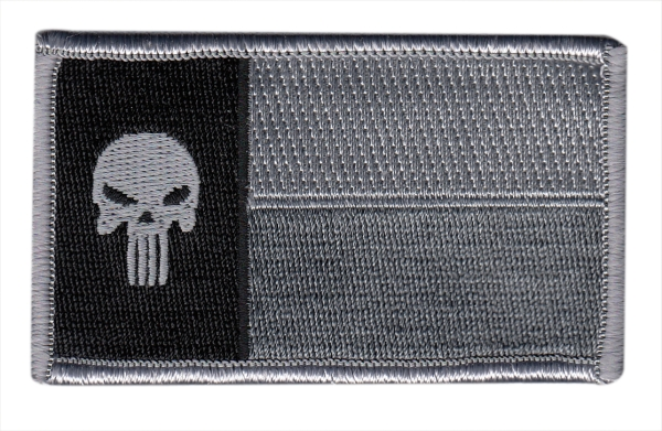 Texas State Flag Patch - Punisher Skull - Grey/Black - Hook backing