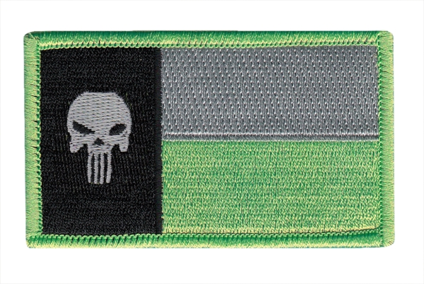 Texas State Flag Patch - Punisher Skull - Grey/Green - Hook backing