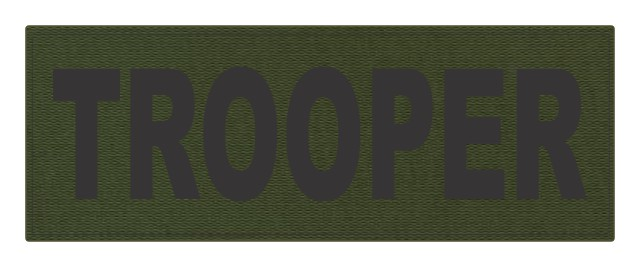 TROOPER ID Patch - 11x4 - Black Lettering - OD Green Backing - Hook Fabric