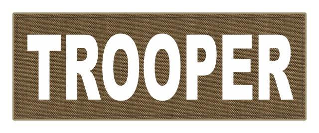 TROOPER ID Patch - 11x4 - White Lettering - Tan Backing - Hook Fabric